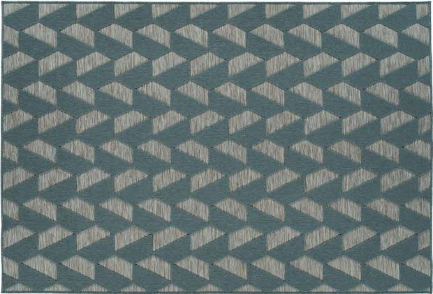 geometric green and gray outdoor rug