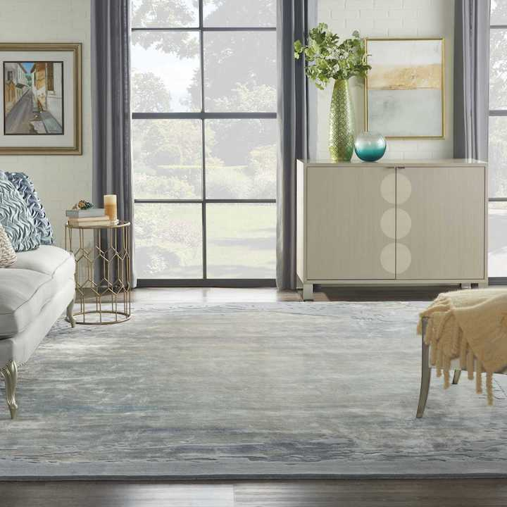 abstract blue and gray rug