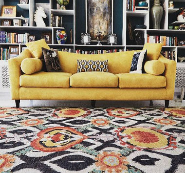 image of suzani rug in living room