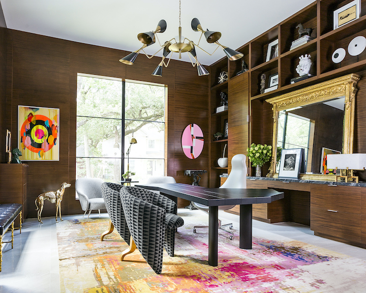 vibrant colors in a high end home office