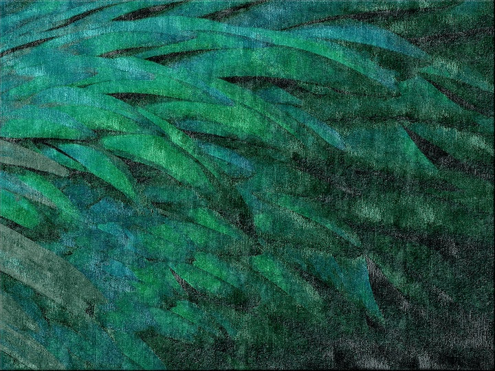 green and blue feather like rug