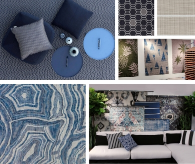 Collage of rugs, pillows, and a living room scene