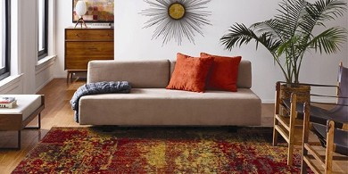 Image of a red and gold abstract rug