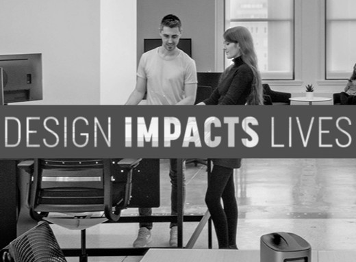 "Black and white logo that reads ""Design Impacts Lives"""
