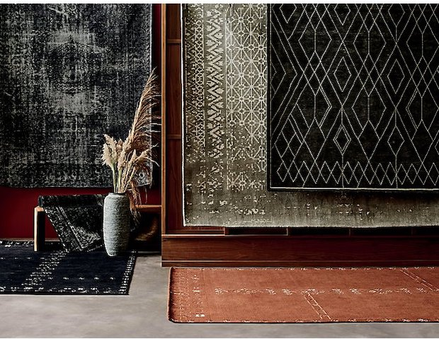 image of crate and barrel area rugs from its Modern Prairie fall collection