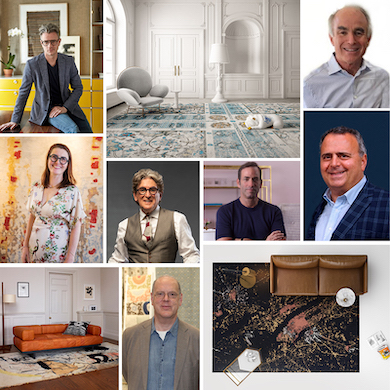 montage of Designers and Area Rugs