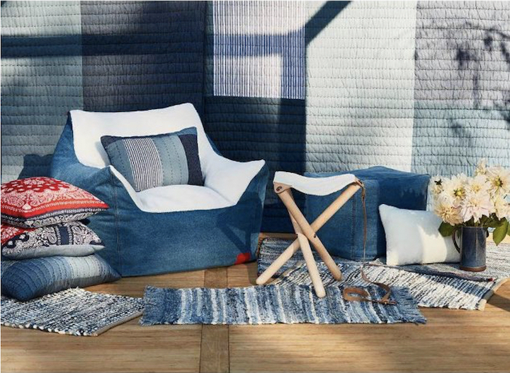 an assortment of denim inspired home furnishings and decor