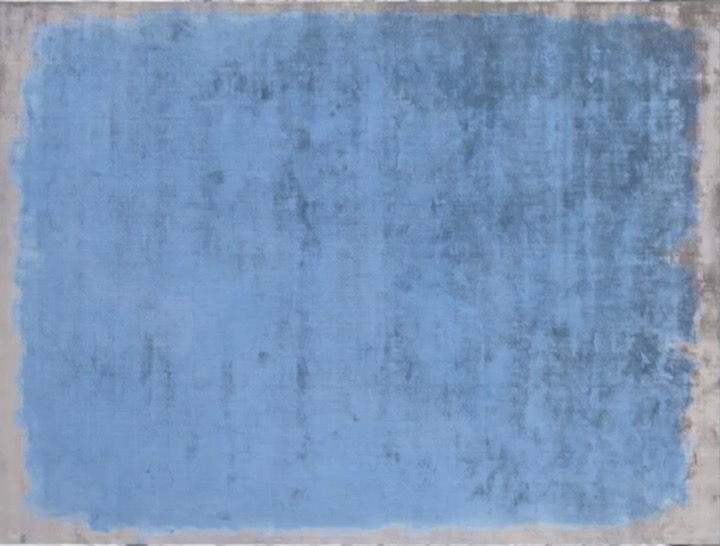 abstract minimalist rug in cool blue