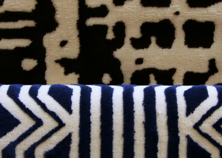 detail of blue and white geometric rug