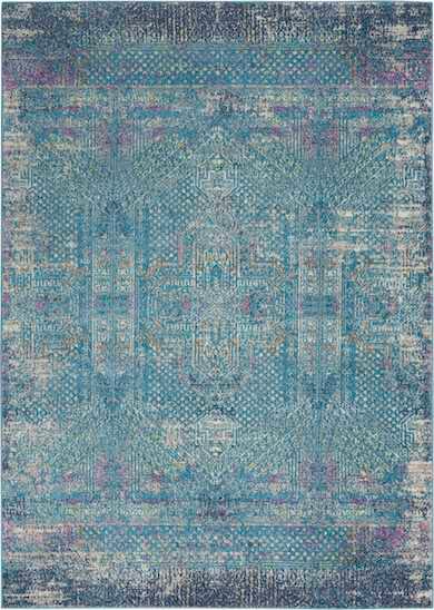 blue erased style tribal rug